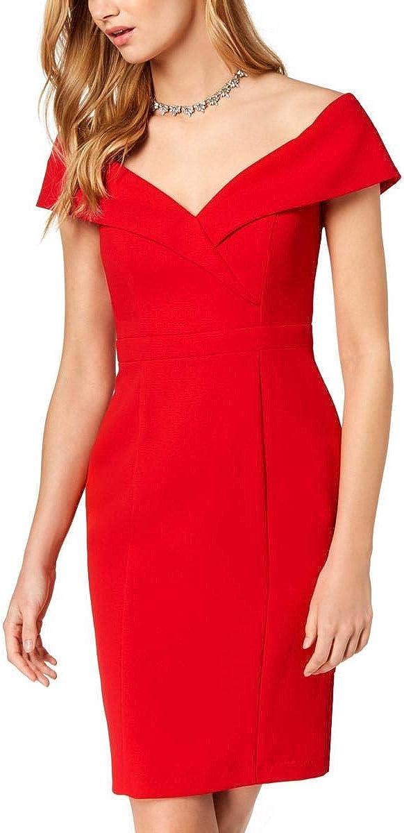 XSCAPE Women's Off-the-shoulder Crepe Cocktail Sheath Dress