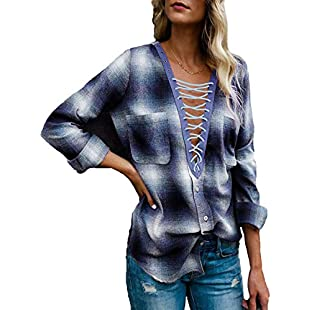 Kyerivs Women's Plaid Shirts Lace up Long Sleeve V Neck Criss Cross Casual Loose Blouse Tops Blue L