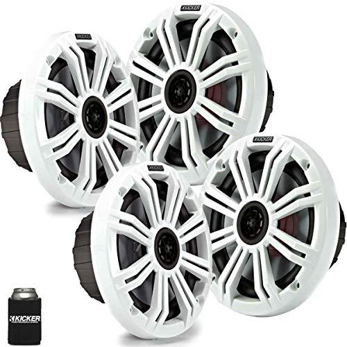 """KICKER 6.5"""" White Marine Speakers (Qty 4) 2 Pairs of Speakers"""