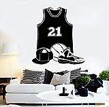 BailongXiao Apliques de Vinilo más vendidos Uniforme de Baloncesto Jugador Pelota Deportes Pegatinas de Pared Sala de niños decoración del hogar murales de Arte 75.6X84.6cm