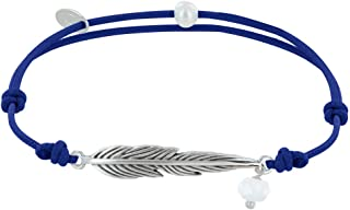 LES POULETTES BIJOUX - Bracelet Lien Plume Laiton Argenté et Perle Facettée
