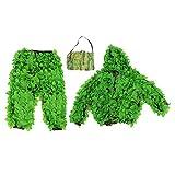 Ropa de Camuflaje 3D, Hecha de poliéster Es Muy Transpirable Trajes Ghillie de Camuflaje Verde para Juegos de niños Agujero Casa en el árbol para Cazar para rastrear