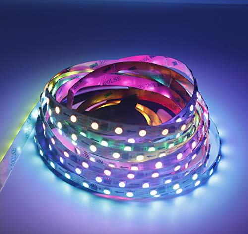 Digital RGB LED tira 300 LED, conexión Bluetooth y control de aplicaciones SMD 5050 cambio de color, persecución, correr cinta LED para Navidad, fiesta, club o bar iluminación (5 metros de tira LED)