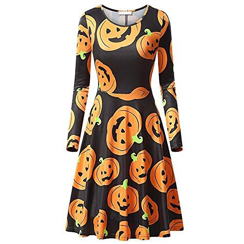 MIRRAY Damen Halloween Kürbis Fledermaus Eule Spinnennetz Print Langarm Cocktailkleid Kleid