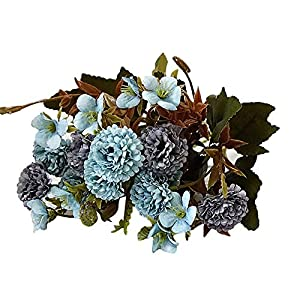 WskLinft Artificial Flowers, Fake Outdoor UV Resistant ArArtificial Flower Carnation Plant Greenery Shrubs Indoor Outside Hanging Planter Home Kitchen Office Wedding Garden Decor Blue