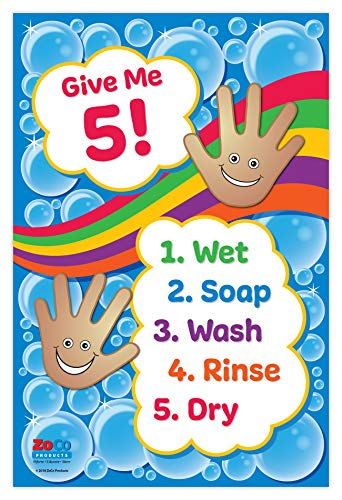 Give Me 5 Washing Hands Poster - Daycare Posters - Hand Washing Signs for Kids - Wash Your Hands Poster - School Nurse Office Decorations - Hygiene Poster - Laminated, 12 x 18 in.