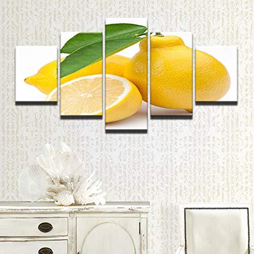 Gbwzz 5 stuks schilderijen op canvas keuken & restaurant muur kunst lijst 5 stuks fruit citroen cubes schilderijen Home Decor Food Drink Poster Frame 10x15 10x20 10x25cm