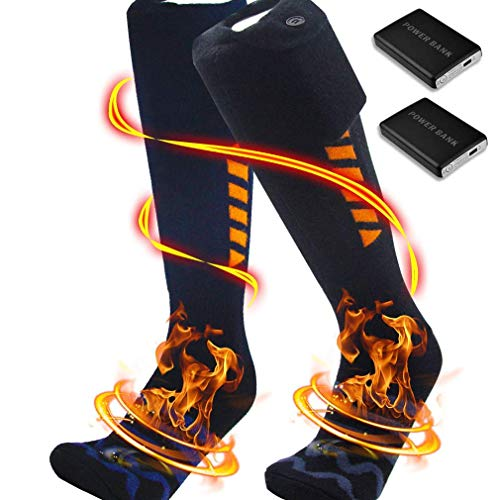 Heated Socks, Electric Heating Socks with 5000mAh Rechargeable Battery,Foot Warmers Socks,Heated Socks for Hunting/Camping/Fishing/Cycling/Motorcycling/Skiing (Black XL(5_9))