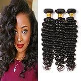 Brazilian Loose Deep Weave Hair 3 Bundles 16 18 20 Inch Pure Deep Curls Virgin Human Hair Extensions Natural Black Color Mixed Length