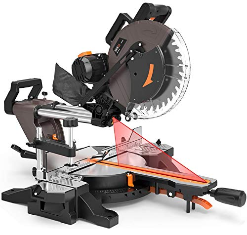 12-Inch TACKLIFE Sliding Compound Miter Saw, Double-Bevel Cuting (-45°-0°-45°), 15-Amp Rotorazer...
