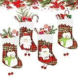 FAVENGO 4 Pcs Medias de Navidad 25 x 16 cm Calcetines Navidad Chimenea Calcetin Navidad Fieltro Calcetines Decoración Navideña para Colgar Calcetines Colgantes para Adorno de Árbol de Navidad Casa