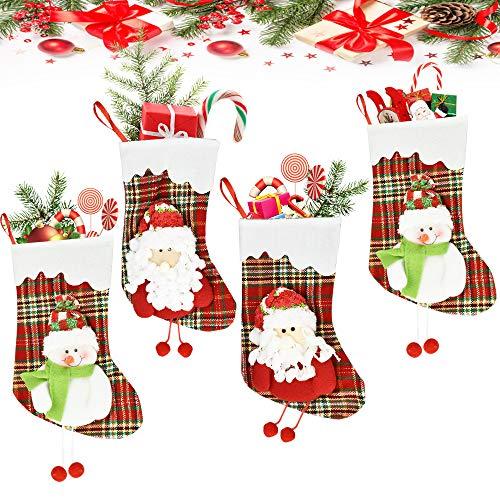 FAVENGO 4 Stück Nikolausstiefel zum Befüllen Weihnachtsstrumpf Aufhänger Nikolausstrumpf Set Weihnachtssocken mit Schneemann Weihnachtsmann Puppe Nikolaussocke für Kamin Kinder Weihnachtsbaum Deko