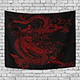 LDIY Chinese Red Dragon Tapestry Wall Hanging Indian Wall Blanket for Bedroom Room Dorm Home Decor Decoration
