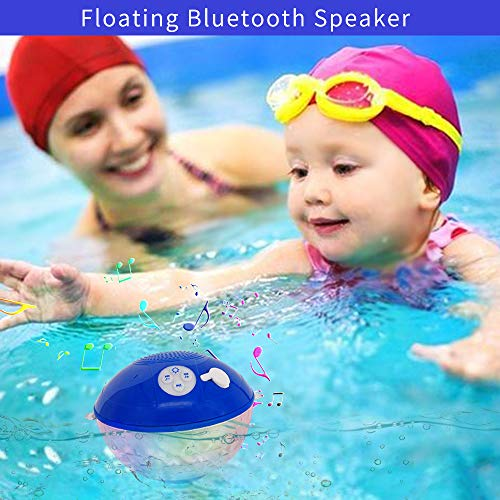 Bluetooth Speakers with Colorful Lights, Portable Speaker IPX7 Waterproof Floatable, Built-in Mic,Cry   stal Clear Stereo Sound Speakers Bluetooth Wireless 50ft Range for Home Shower Outdoors Pool Travel