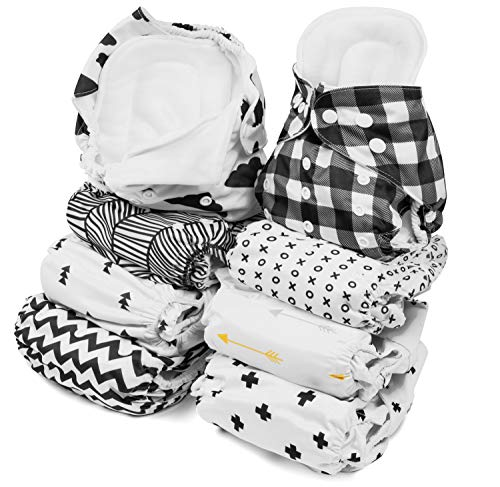 BaeBae Goods Newborn Cloth Diapers – 8 Reusable Cloth Diapers for Babies with 8 Cloth Diaper Inserts – Extra Leg Lining to Avoid Leakage - Waterproof Outside – Adjustable Size for Boys and Girls