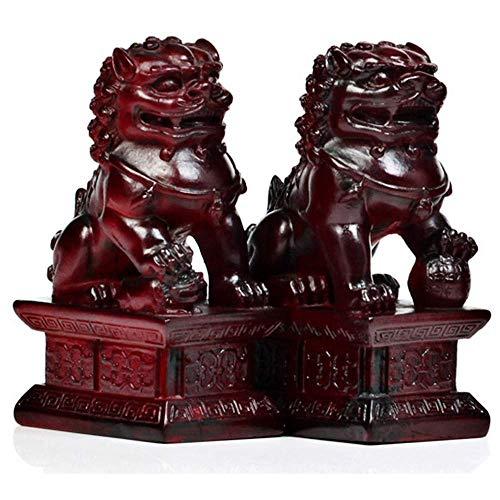 LEILEI Un par de estatuas de Guardianes de Piedra Blanca,un par de Leones de Beijing,Perros Fu Foo,decoración de Feng Shui Chino para el hogar y la Oficina,atrae la Riqueza y la Buena Suerte,el mej