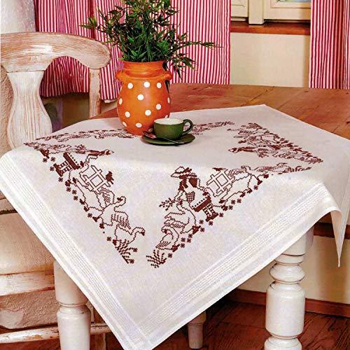 Kamaca - Kit de punto de cruz para mantel (algodón, con plantilla de bordado), diseño de margaritas