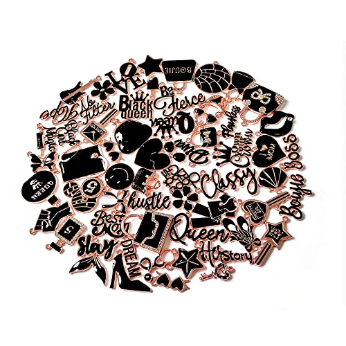60pcs Women Assorted Enamel Charms, EllyBling Fashion Alloy Charm Set for Jewelry Making Necklace Bracelet Earring DIY Jewelry Charms (Rose Gold plated black)