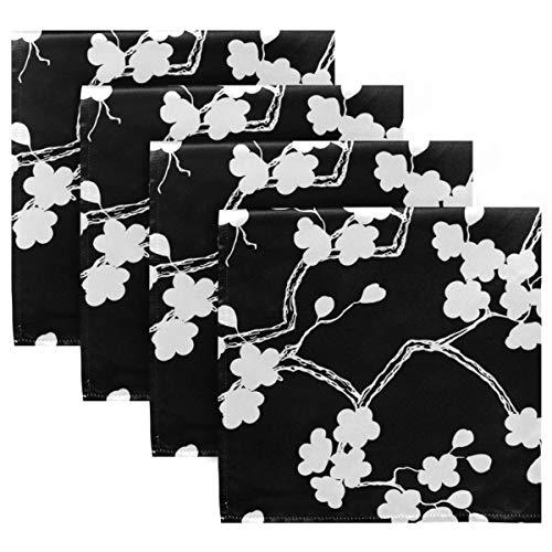 MNSRUU - Servilletas de tela negra y lavables, reutilizables, de poliéster, 50,5 x 50,5 cm, para el hogar, bodas, fiestas, vacaciones, juego de 4