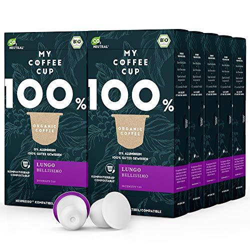My Coffee Cup – LUNGO BELLISSIMO – BIO-KAFFEE 10 PACKUNGEN I 100 Kaffeekapseln für Nespresso®³-Kapselmaschinen I 100% industriell kompostierbare Kaffeekapseln – 0% Alu I Nachhaltige Kaffeekapseln