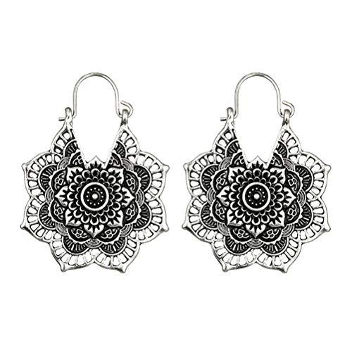 Mandala vintage flor gota cuelga el pendiente para mujer niña pendientes tribales huecos florales colgante (plata)