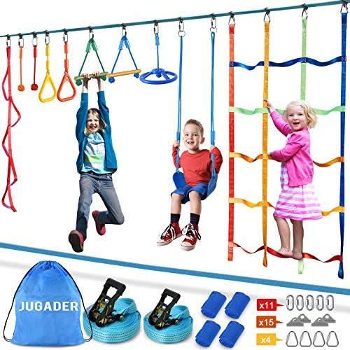 Jugader Ninja Warrior Obstacle Course for Kids 2X50FT Ninja Slackline with Climbing Net Swing product image