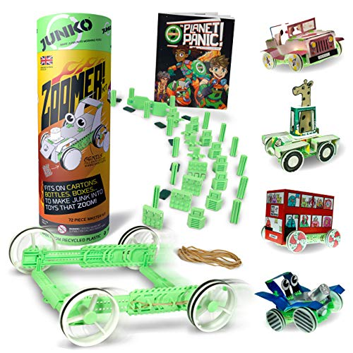 JUNKO Zoomer! Kit - Build Cars that Go from Household Junk. Educational & imaginative kit for kids. Develops mechanical, creative, craft & construction skills. STEM toy. Made from Recycled Plastic.