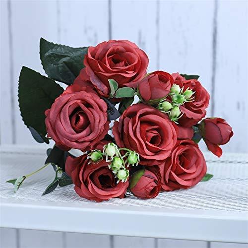 Flores artificiales de seda para decoración del hogar, hermosas rosas artificiales (color: morado)