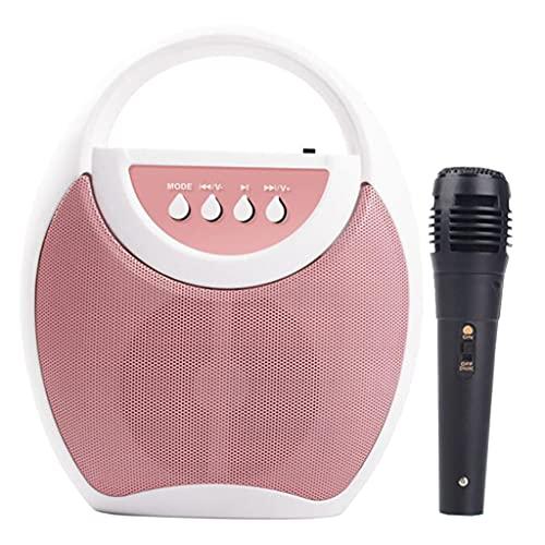 Hellery Altavoz Bluetooth para máquina de Karaoke para niños con 1 micrófono, Juguetes para niñas y niños, portátil para Regalos de Festivales de cumpleaños - Rosado