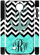 Turquoise European Retro Pattern And Black White Chevron Vs Anchor Unique Custom Samsung Galaxy S4 I9500 Best Durable PVC Two-In-One Cover Case Custom Color and Text,New Fashion, Best Gift