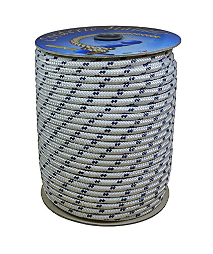 Corderie Italiane 006006015 Treccia Nautica 05MM-100MT, Bianco con Segnalino Blu