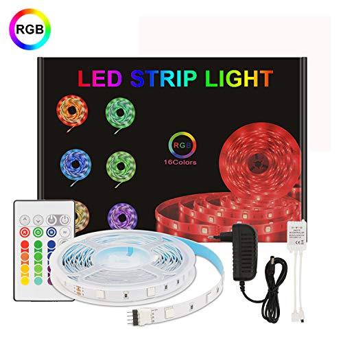 LED Streifen/LED Strip,Aourow 5m Farbänderung RGB LED stripes Lichtband inkl. Fernbedienung und 12V Netzteil,150 Stück 5050 SMD Flexibel LED Bänder mit Selbstklebend für Heimwerkerdekoration