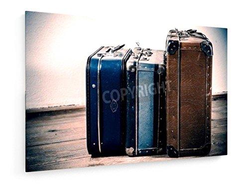 weewado Jaromir Urbanek - Hermosas Viejas Maletas Azules y Marrones - 30x20 cm - Impresión en Lienzo Textil - Muro de Arte - City Trip & Travel