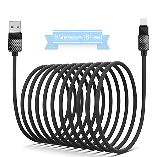 iPhone Cable Charger 5m/16ft, iPhone Charger Fast Charging, USB Cables Braided Nylon High-Speed Lightning Cord with Premium Metal Connector for XS/Max/XR/X/8/8P/7/7P/6S/iPad/iPod/IOS (Black)