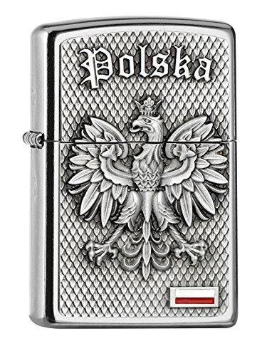 Zippo Mechero cromado POLSKA-Street, negro, 5,8 x 3,8 x 1,8 cm