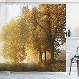 ABAKUHAUS Fallen Duschvorhang, Herbst-Morgen Scenic, Wasser Blickdicht inkl.12 Ringe Langhaltig Bakterie & Schimmel Resistent, 175 x 180 cm, Grün-Gelben