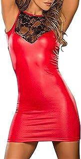 YeeHoo Donne Sexy Lace Brevetto in Pelle Mini Abiti Gotico Ecopelle Clubwear Tentazione Night Club Vestito