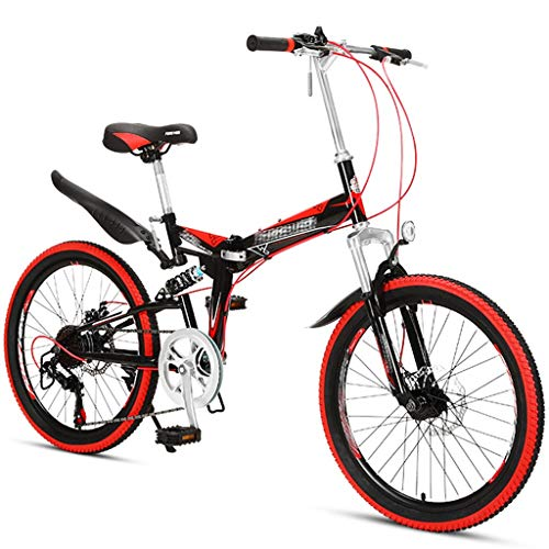 Mountain Bikes Folding Leisure for Men and Women Variable Speed Ultra-Light Portable Dual Disc Brakes Commuter Bikes Road Bikes, 22 Inch (Color : Red, Size : 22 inch)