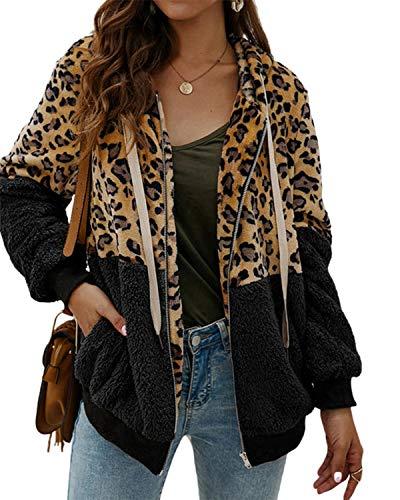 SUNNYME Damen Kapuzenpullover, Übergröße, Lange Ärmel, Pullover für Damen, einfarbig, Sport-Tunika, Tops in Übergröße Gr. L, C-Leopard-Black