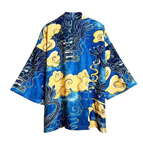 FLY FLU Haori Jacke Herren, Cardigan Japanisch Kimono Sommer Karpfen Print Lose Hemd Tops Casual Frau Mann Kimonos Mantel Paar Yukata Kimonos,E-USS/TagM