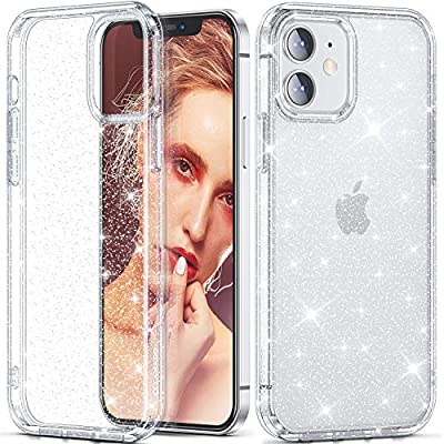"CASEKOO Crystal Glitter Designed for iPhone 12 Case, Designed for iPhone 12 Pro Case [Anti-Yellowing] Clear & Shockproof Protective Sparkle Phone Cover Thin Slim Case (6.1"") 2020- Twinkle Stardust"