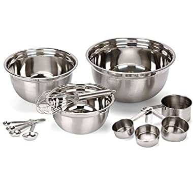 Estilo 12 Piece Stainless Steel Mixing Bowls, Includes Measuring Cups, Measuring Spoons And Barrel Whisk