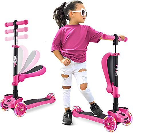 Hurtle 3 Wheeled Scooter for Kids - 2-in-1 Sit/Stand Child Toddlers Toy Kick Scooters w/Flip-Out Seat, Adjustable Height, Wide Deck, Flashing Wheel Lights, for Boys/Girls 1 Year Old HURFS66.5 (Pink)