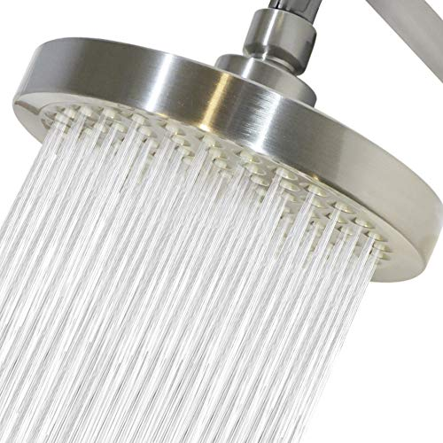 High Pressure Shower Head- 6 inch-Luxury Brushed Nickel shower heads-with removable water restrictor- easy to install- includes Teflon tape (brushed nickel)