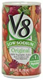 V8 100% Vegetable Juice, Original Low Sodium, 5.5 Ounce (Pack of 24)