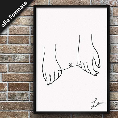 Papieren smederij Premium poster met motief, stijlvolle wanddecoratie voor de fotolijst in vele formaten DIN A1 (59,4cm x 84,1cm) Dessin: Love 2 - Hands Tied
