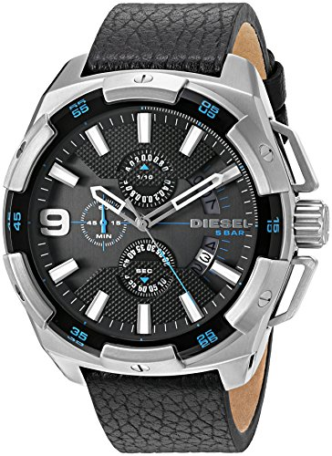 Diesel Men's DZ4392 Heavyweight Stainless Steel Black Leather Watch