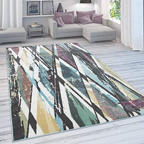 Paco Home Designer-Teppich Für Wohnzimmer, Kurzflor in Pastellfarben, Rauten-Look, In Bunt, Grösse:60x100 cm
