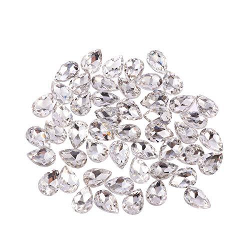 HEALLILY 50 Unids Perlas de Cristal en forma de Lágrima Joyas de Cristal Hallazgos Craft Spacer Beads para Zapatos Ropa Teléfono Móvil Decoración