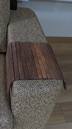 Handmade Sofa Tray Table with Walnut color natural wood and glossy artificial leather back cover